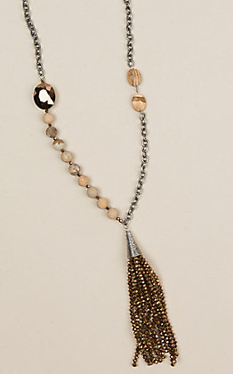 Ashlyn Rose Silver Chain and Brown Beaded Necklace