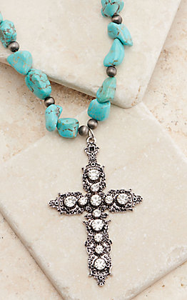 Ashlyn Rose Aprils Crystal Turquoise Stones with Silver Crystal Cross Necklace