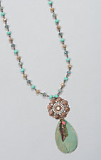 Ashlyn & Rose Beige & Turquoise Beads with Round Center and Feather Pendant Necklace
