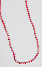 Ashly Rose Red Beads and Cream Crystals Long Necklace