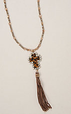 Ashly Rose Grey and Cream Crystal Beaded Necklace with Leopard Cross and Tassel