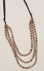 Ashlyn Rose Brown and Cream Crystal Beads Triple Strand Necklace