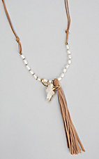 Ashlyn and Rose Aniyahs Skull with Tassel Necklace