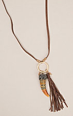 Ashlyn Rose Brown Leather Cord with Aztec Tooth and Tassel Necklace