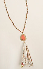 Ashlyn & Rose Beige and Coral Beaded with Floral and Beige Cloth Tassel Necklace