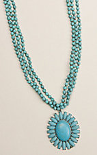 Ashlyn & Rose Turquoise Beaded Flower Concho Multi Strand Necklace