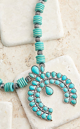 Ashlyn Rose Western Style Squash Blossom With Turquoise Accent Necklace