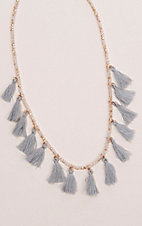 Ashlyn Rose Grey Tassels on Cream Crystal Beaded Necklace