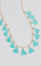 Ashlyn Rose Turquoise Tassels on Cream Crystal Beaded Necklace