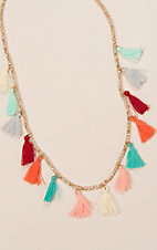 Ashlyn Rose Multi Colored Tassels on Cream Crystal Beaded Necklace