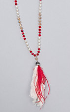 Ashlyn and Rose Red Beige and Pearl Fabric Tassel Necklace