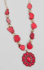 Ashlyn Rose Women's Red Stone Blossom Flower Necklace