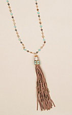 Ashlyn Rose Turquoise Bead with Leather Tassel Necklace