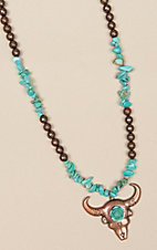 Ashlyn Rose Chunky Turquoise and Copper Bead Necklace
