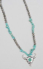 Ashlyn Rose Chunky Turquoise and Silver Bead Necklace