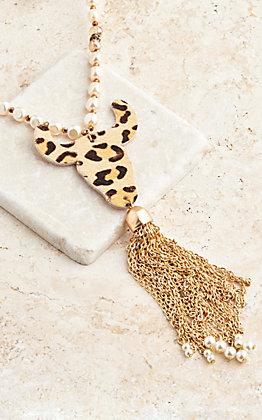 Ashlyn Rose Leopard Hide Steer Head With Gold Chain Tassel Necklace