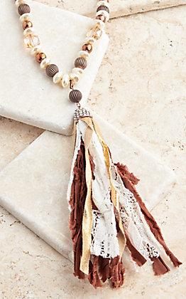 Ashlyn Rose Gold Glitter Tassel on Brown Leather Braid Necklace