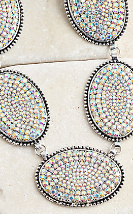 Ashlyn Rose Oval AB Crystal Pendants on Silver Chain Necklace