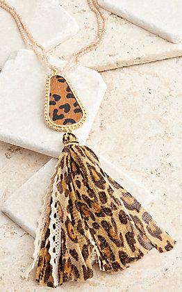 Ashlyn Rose Beige Beads and Leopard Gumdrop Pendant