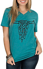 Dale Brisby Canvas Women's Teal Aztec Skull V-Neck Casual Knit Shirt