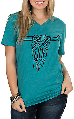 Rodeo Time Dale Brisby Women's Teal Aztec Skull V-Neck Casual Knit Shirt
