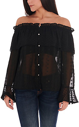 Rockin C Women's Black Dot and Embroidery Ruffle Off the Shoulder Sheer Fashion Top