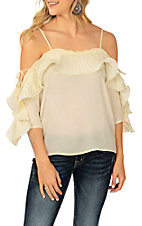 A. Calin Ivory Ruffle Open Sleeve Fashion Shirt