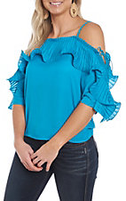 A. Calin Turquoise Ruffle Open Sleeve Fashion Shirt