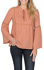 Flying Tomato Women's Peach Tie Neck Top