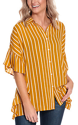 A. Calin Women's Mustard with White Stripes Ruffle Sleeves Boxy Fashion Top