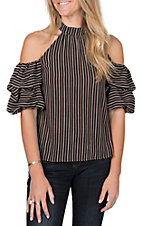 A. Calin by Flying Tomato Women's Black Stripe Cold Shoulder Top