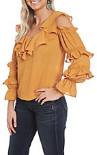 A. Calin Mustard Ruffle Cold Shoulder Fashion Shirt