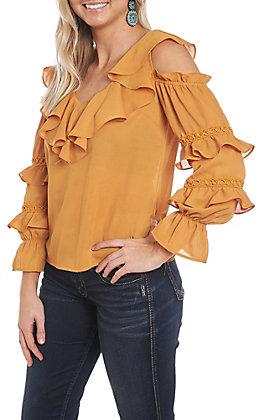 A. Calin Mustard Ruffle Cold Shoulder Fashion Shirt