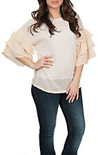 Flying Tomato Women's Cream Sweater Ruffle Sleeve Top