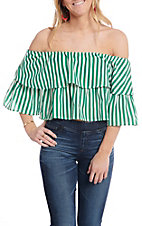 A. Calin by Flying Tomato Women's Green Striped Off the Shoulder Bell Sleeve Crop Top