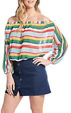 A. Calin by Flying Tomato Multi Stripe Off the Shoulder Long Sleeve Fashion Top
