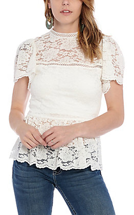 A. Calin by Flying Tomato Women's White Floral Lace Fashion Top