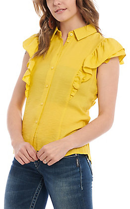 A. Calin by Flying Tomato Women's Yellow Ruffle Fashion Top