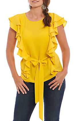 A. Calin by Flying Tomato Mustard Ruffle Fashion Top