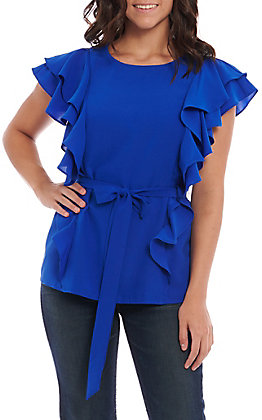 A. Calin by Flying Tomato Royal Blue Ruffle Fashion Top