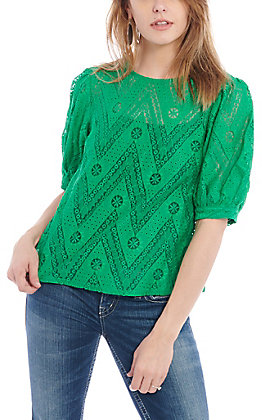 A. Calin by Flying Tomato Women's Green Puff Sleeve Fashion Top