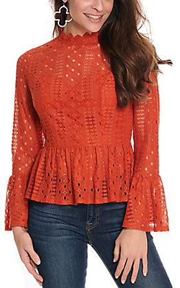 A Calin Women's Rust Lace Long Sleeve Fashion Top