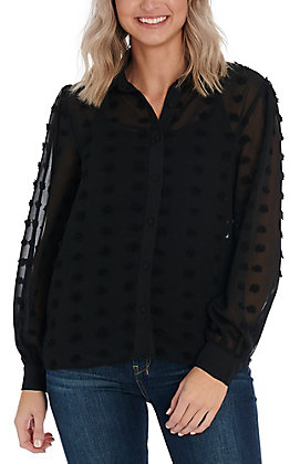 A. Calin by Flying Tomato Women's Black Pom Fashion Top