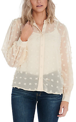 A. Calin by Flying Tomato Women's Ivory Pom Fashion Top