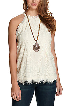 Rockin' C Women's Ivory Lace High Neck Sleeveless Fashion Tank Top