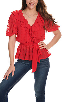 A Calin Women's Red Pom Pom V-Neck Fashion Top