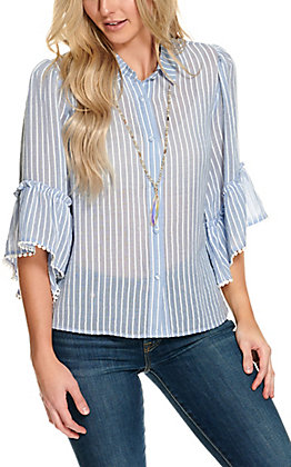 A. Calin Women's Chambray Blue and White Stripes Button Down Ruffle Sleeve Fashion Top