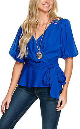 A. Calin Women's Royal Blue Wrap Front 3/4 Sleeve Fashion Top