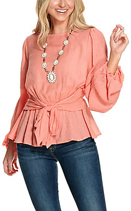 A. Calin Women's Crinkle Coral Tie Front Long Sleeve Fashion Top
