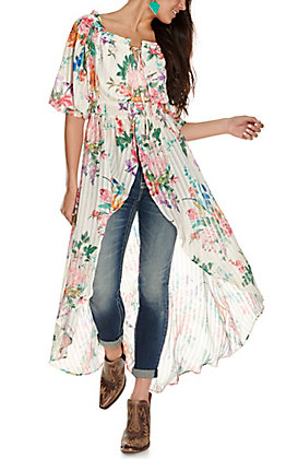 A. Calin Women's White with Floral Print Hi-Low Off the Shoulder 3/4 Sleeve Fashion Top